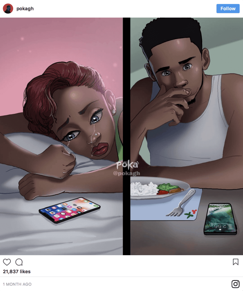 12 Beautiful Illustrations By Ghanaian Artist That Portray The Ups And Downs Of A Relationship - All relationships have their ups and downs.