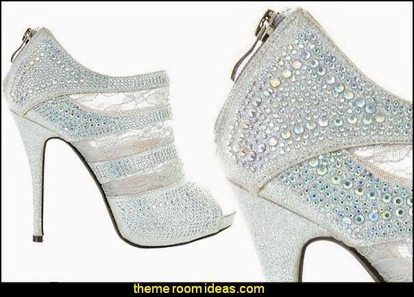 SASSY SEXY VALENTINE Women's Evening Dance Glitter Lace Mesh Peep-Toe Rhinestones Open-Toe Classic Platform Stiletto Heel Pump