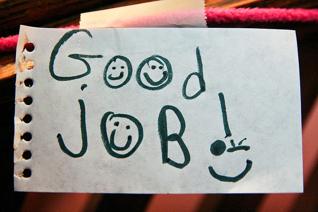 "Paper Note with ""Good Job"" on It:  Image Source: https://c1.staticflickr.com/5/4038/4294686346_fa10e0e9c7_z.jpg?zz=1"