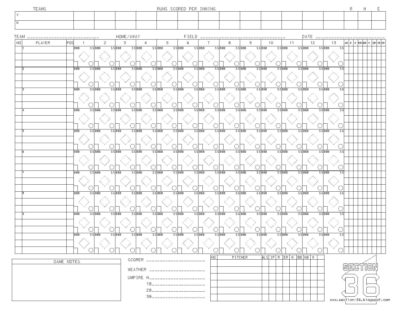 It is an image of Invaluable Printable Softball Scorebook
