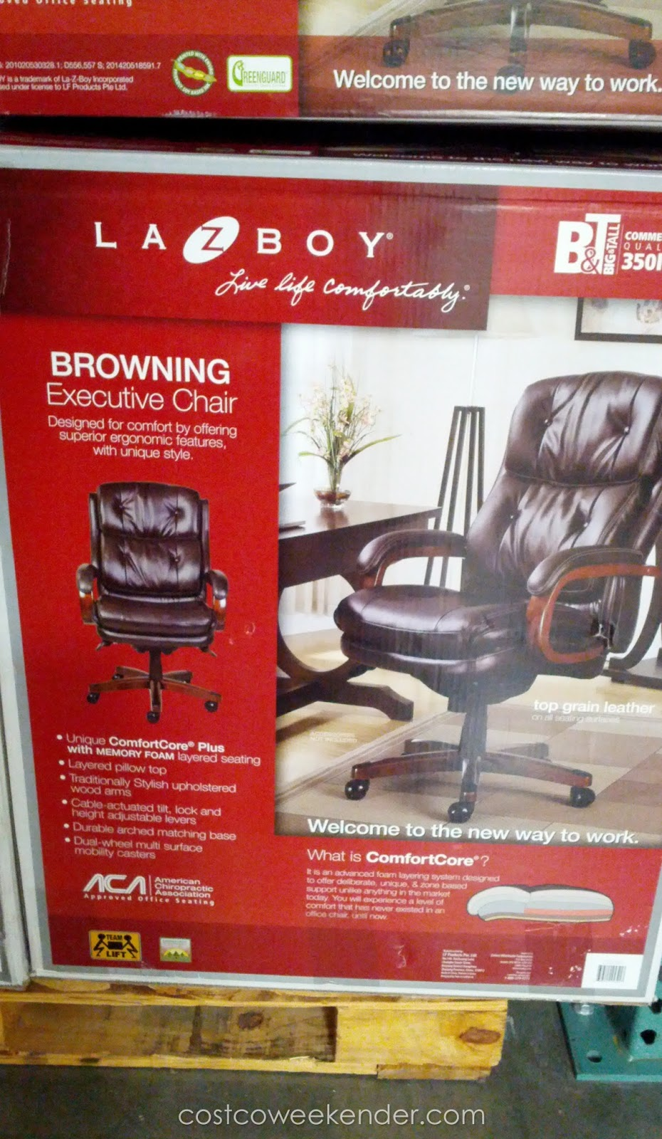 Lazboy Office Chair Okin Lift La Z Boy Browning Leather Executive Costco Weekender Bringing The Comfort Of Home To