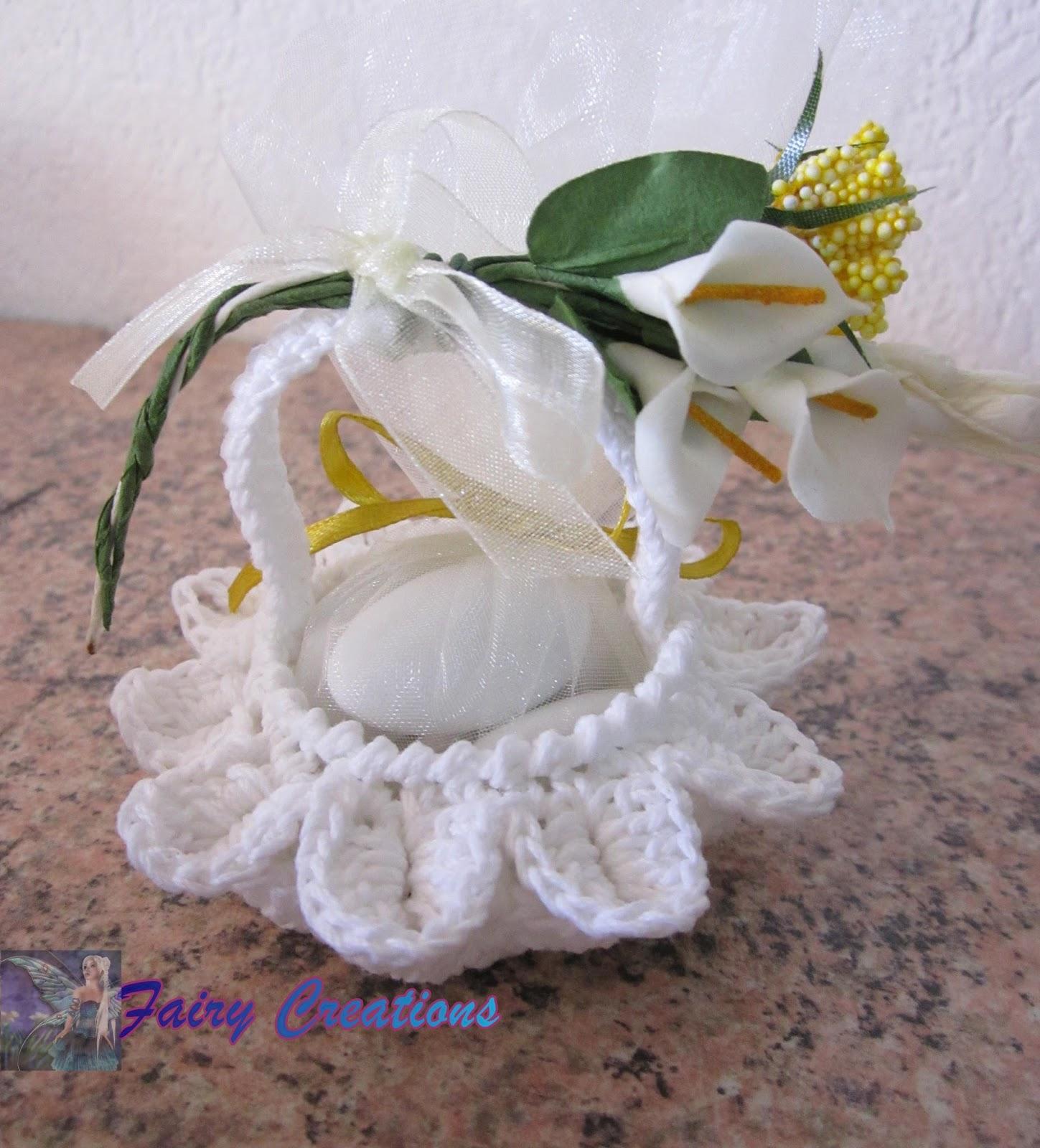 Eccezionale fairy creations: bomboniere all'uncinetto, cestini all'uncinetto TA12