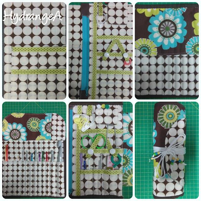 Funda o manta realizada en tela para guardar agujas de ganchillo o crochet
