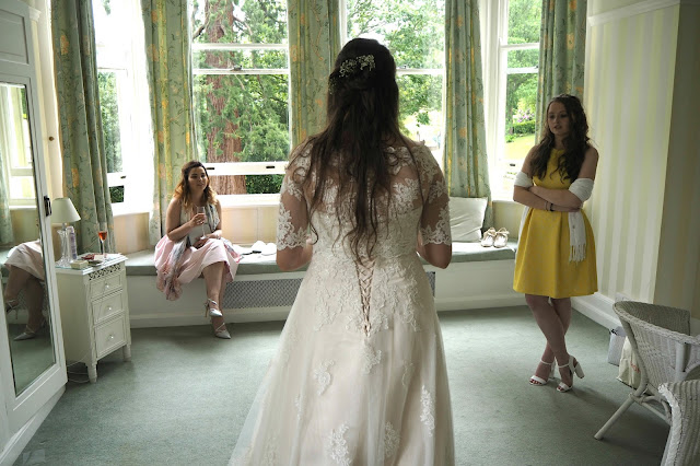 Bride talking to friends
