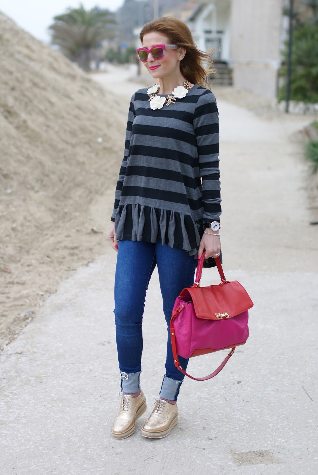 stripes and ruffles on Fashion and Cookies fashion blog, fashion blogger style