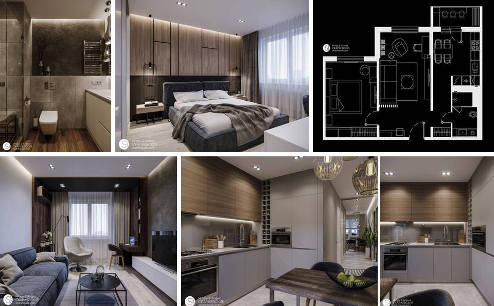 Interesting Interior Apartment Plan with Just 60 Square Meters