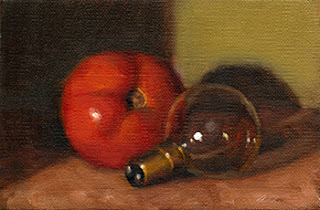 Oil painting of a red tomato beside a small incandescent light bulb.