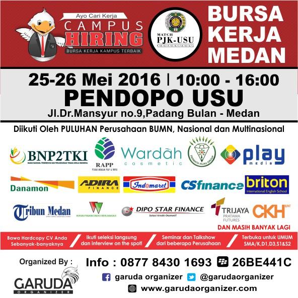 Jobfair Bursa kerja di Medan USU Universitas Sumatera Utara mei 2016
