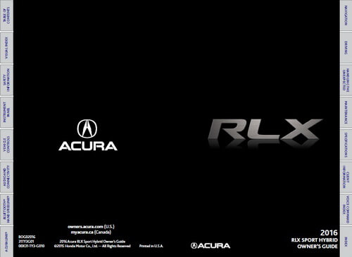 Download 2016 RLX Owner's Manuals & Guides