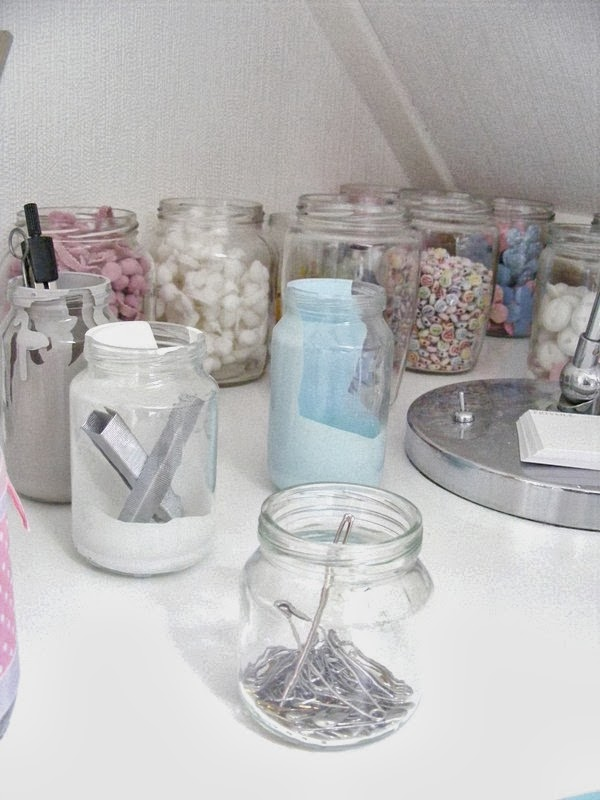 Painting jars for craft storage