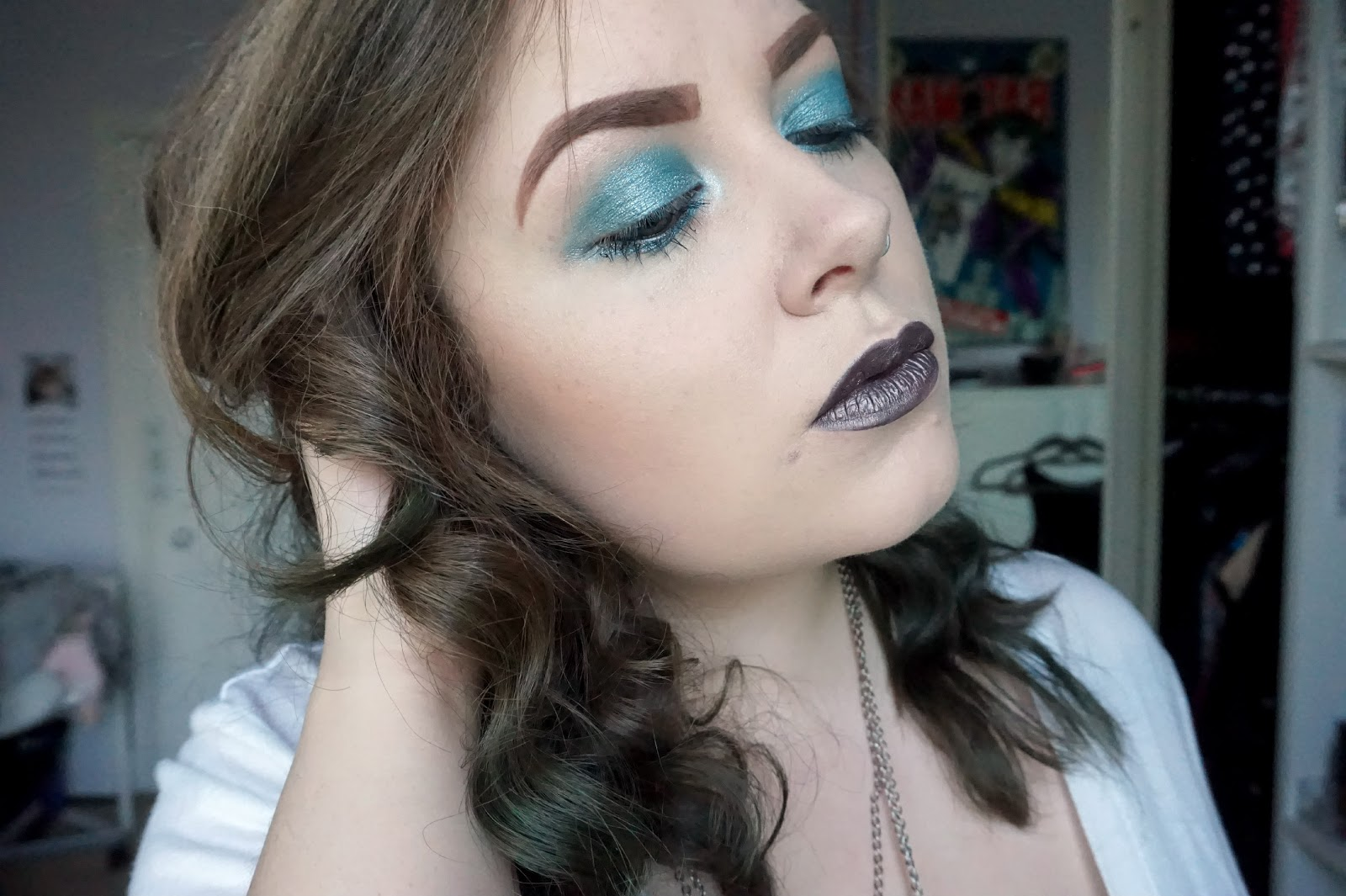 mermaid make-up look, h&m water sprite eyeshadow, jeffree star restraint liquid lipstick