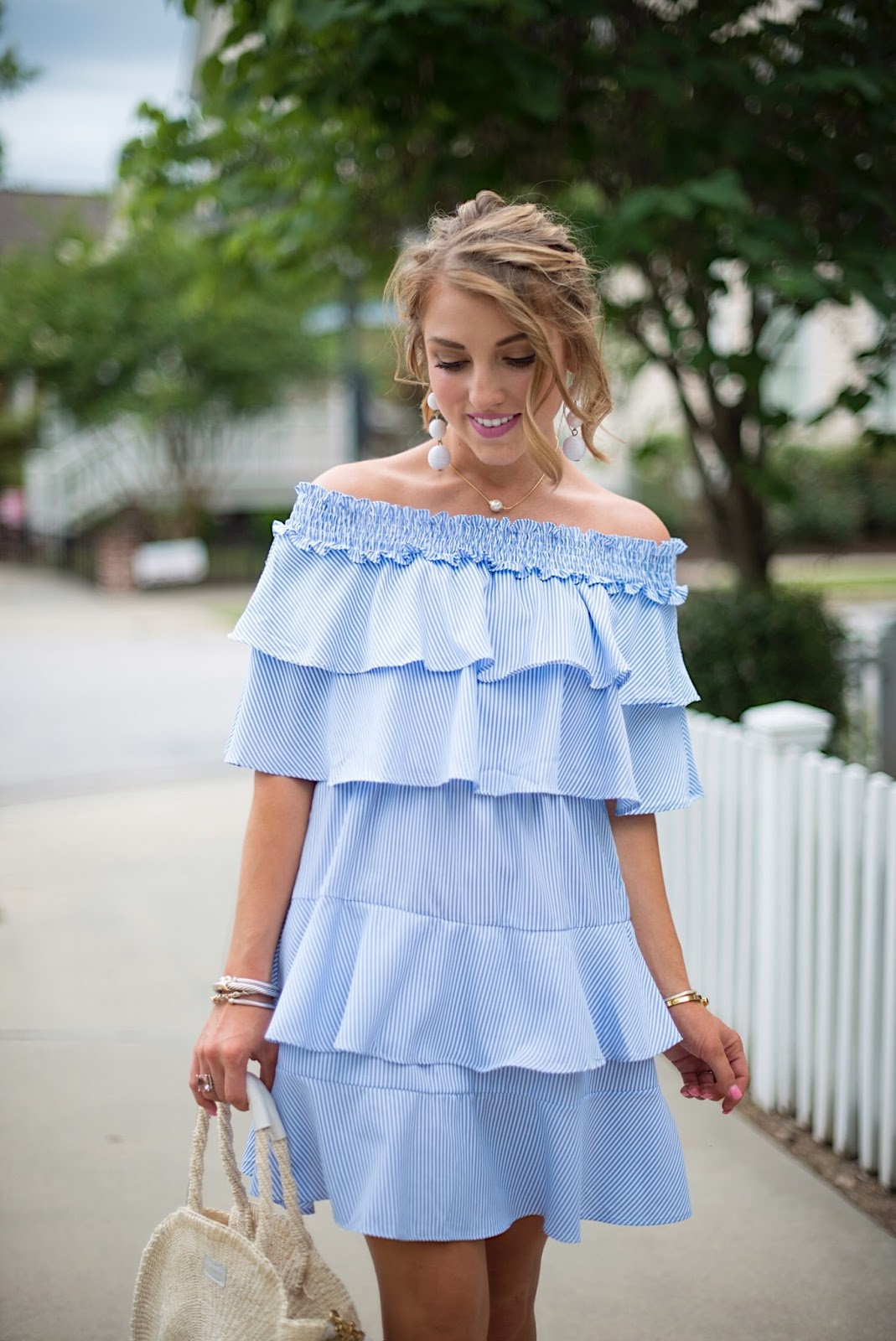 Ruffle OTS Dress - Click through to see more on Something Delightful Blog!