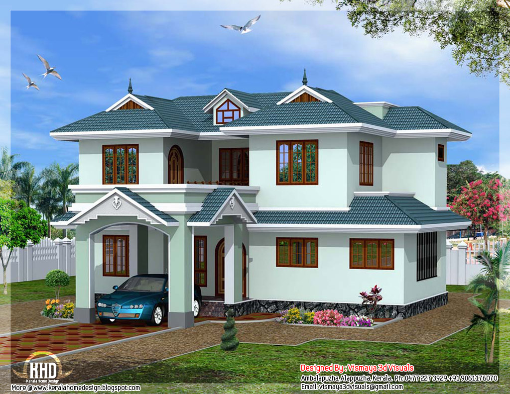Front Elevation Of Villas In Kerala : Kerala style bedroom villa home design and