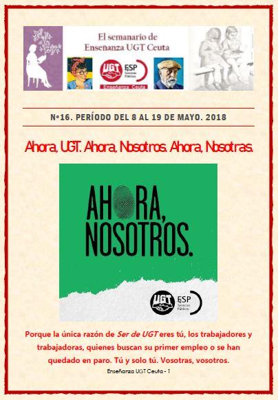 Semanario Enseñanza UGT Ceuta, del 8 al 19 de mayo de 2018