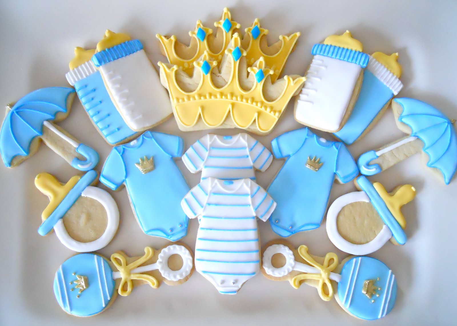 Teal and white Decorated Baby Cookies with by thesweetesttiers  |Best Baby Shower Cookies