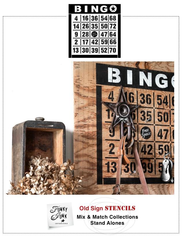 Funky Junk Interiors Bingo Board Stencil