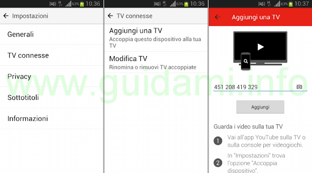 App YouTube mobile Aggiungi TV