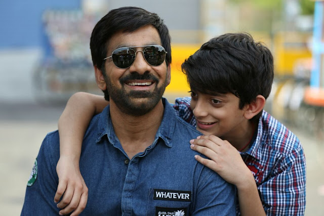 RaviTeja With His Son Mahadhan on the sets of Raja The Great Telugu Movie