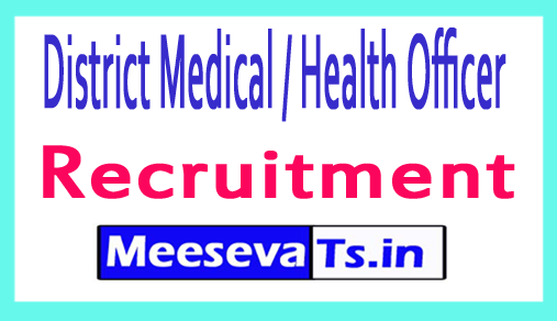 District Medical / Health Officer DMHO Recruitment