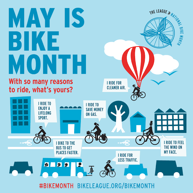 May is Bike Month With so many reasons to ride, what's yours? | I ride for cleaner air. | I ride to enjoy a lifelong sport. | I ride to save money on gas. | I bike to the bus to get places faster. | I ride for less traffic. | I ride to feel the wind on my face. #BikeMonth bikeleague.org/bikemonth