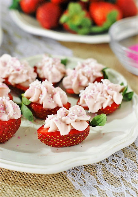 Strawberry Cheesecake Strawberry Bites Image ~ a fabulous little-bite treat perfect for Valentine's Day, Easter, Mother's Day, spring, a tea party, or every-day snacking!