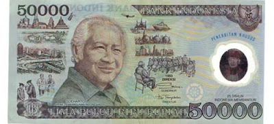 Gambar Uang kertas Indonesia 50000 terbitan tahun 1993