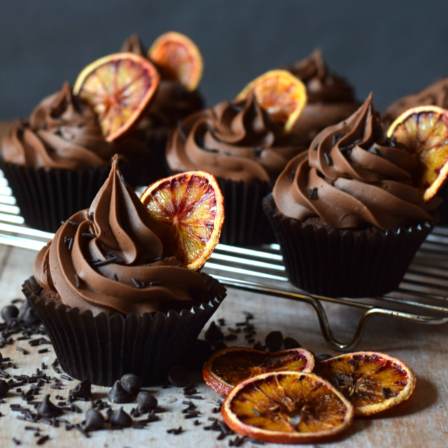 Double Cocolate Orange Cupcakes containing real chocolate.