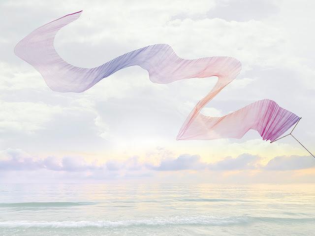 Poster géant original vue mer et cerf-volant