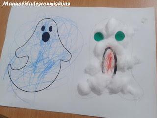 Manualidades Halloween: Fantasmas con algodón y gomets