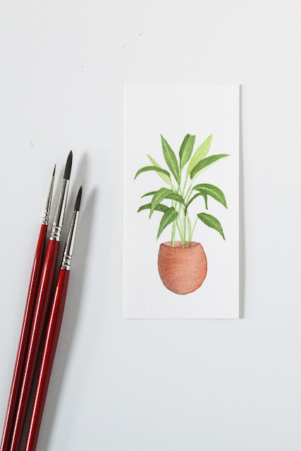 watercolor houseplant portrait, miniature watercolor, 30 paintings 30 days, Spathiphyllum, Anne Butera, My Giant Strawberry