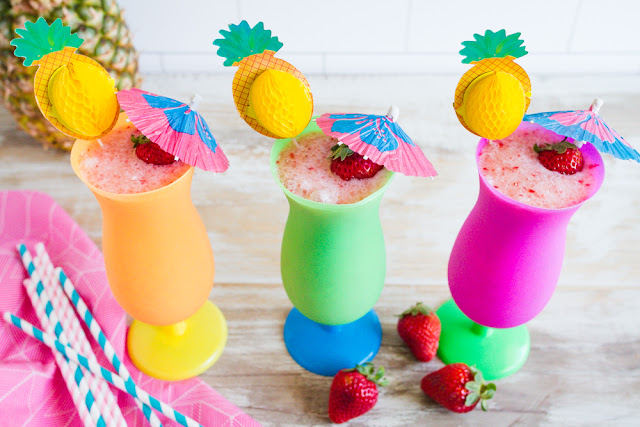 Non-Alcoholic Strawberry Pina Coladas.  A perfect drink for everyone!  |  mynameissnickerdoodle.com