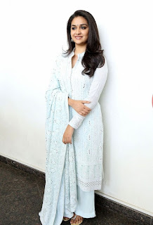 Keerthy Suresh in White Dress with Cute and Awesome Lovely Smile for Going to Promotions 8