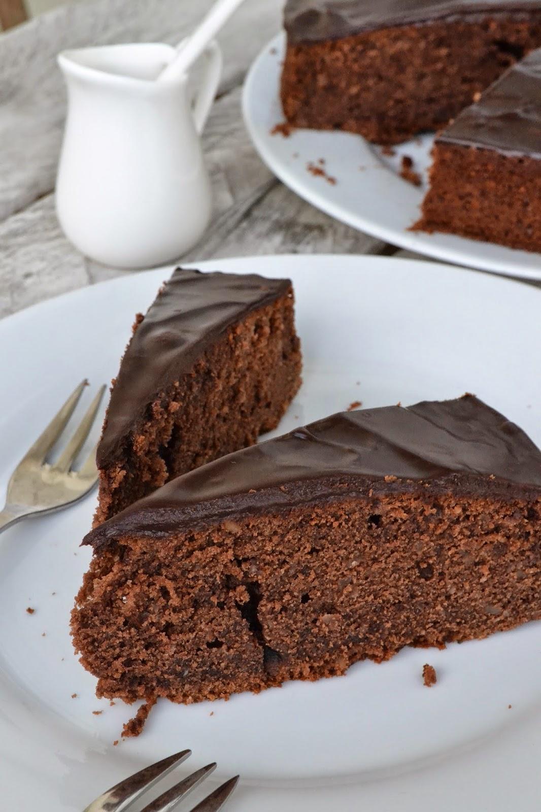 Mandel Schokoladenkuchen Mit Schokoladenglasur Schokolade The