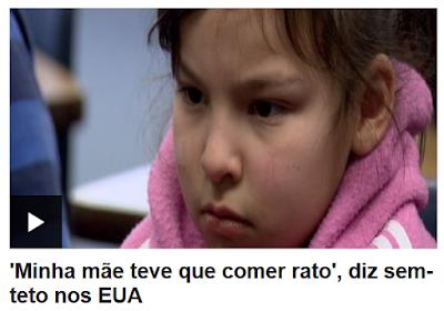 Menina sem-teto dos EUA que diz que mãe comeu rato