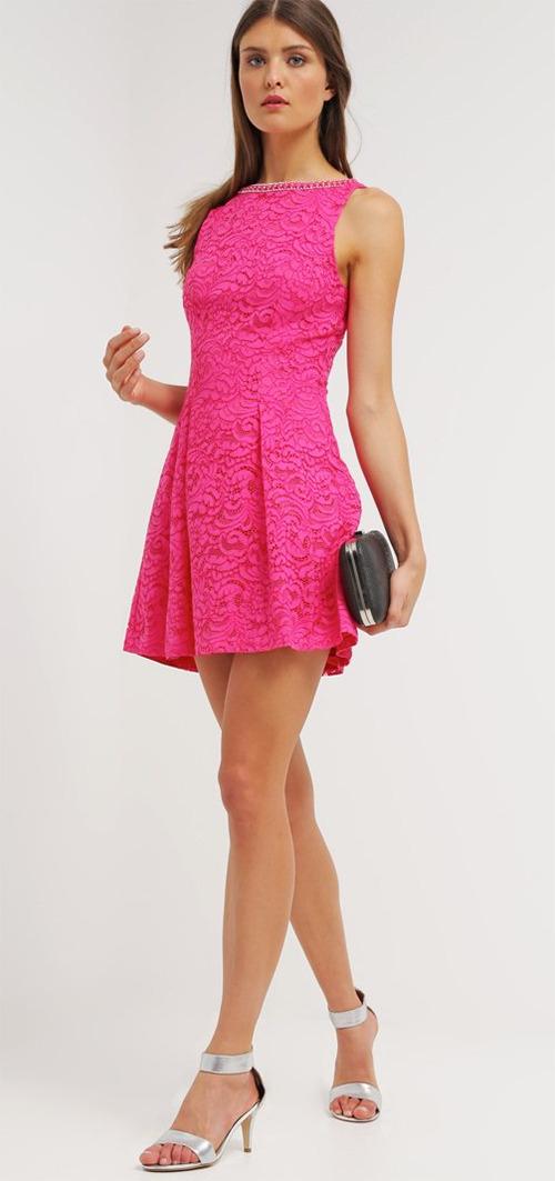 Robe courte de soirée rose en dentelle MARCIANO GUESS