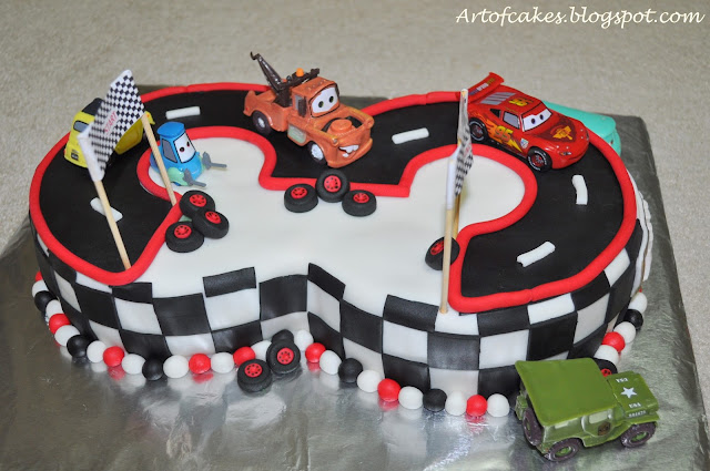 Art Of Cakes Disney Cars Themed Number 3 Fondant Cake