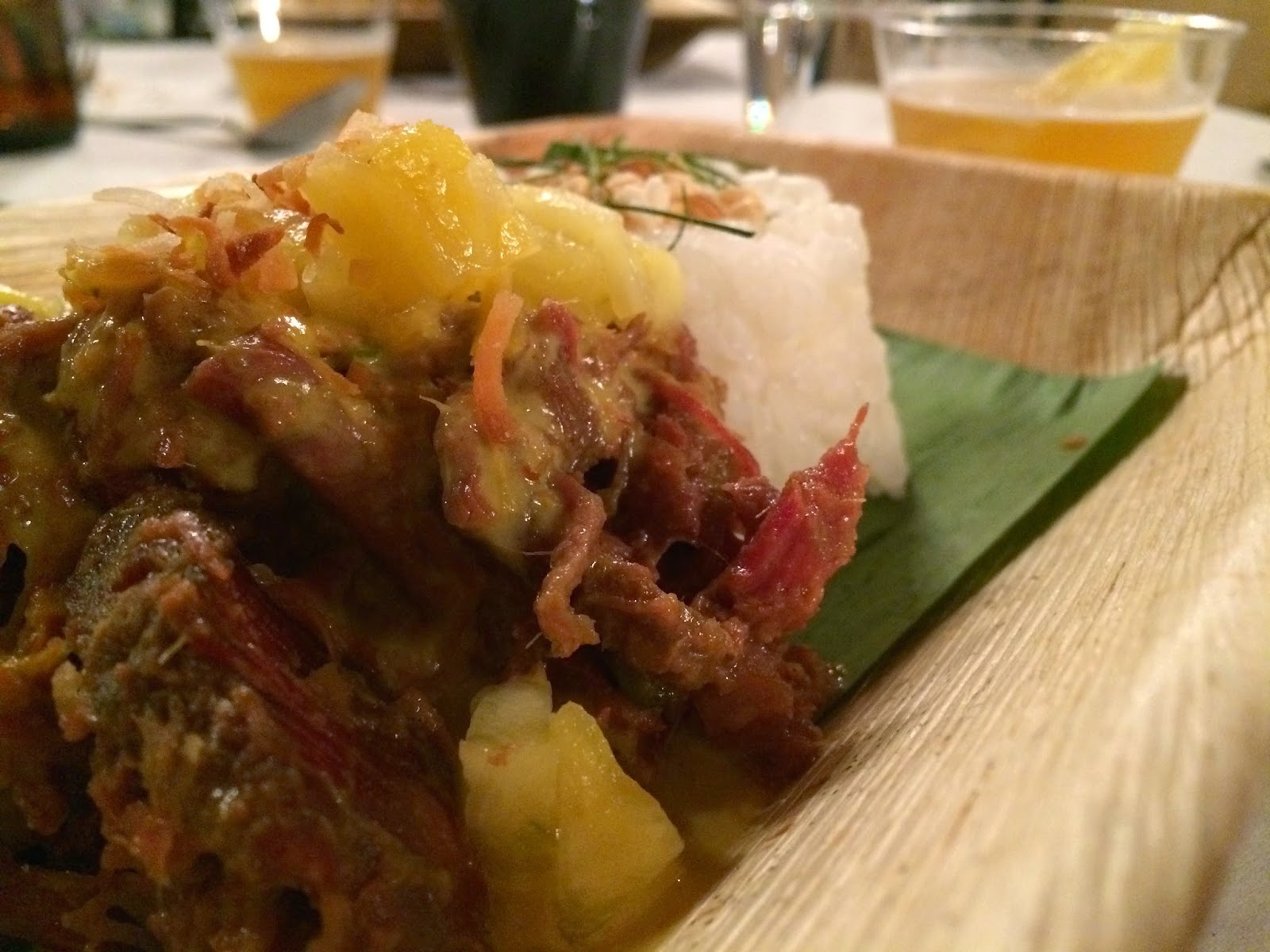 Fourth Course: Goat Rendang with Coconut Rice, Pickled Pineapple, and Kaffir Lime