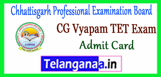 CG Vyapam Chhattisgarh Professional Examination Board TET Admit Card 2017