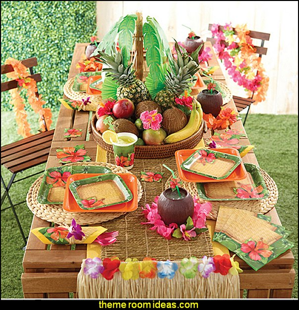 Tropical Hawaiian Luau party decorations party theme beach party