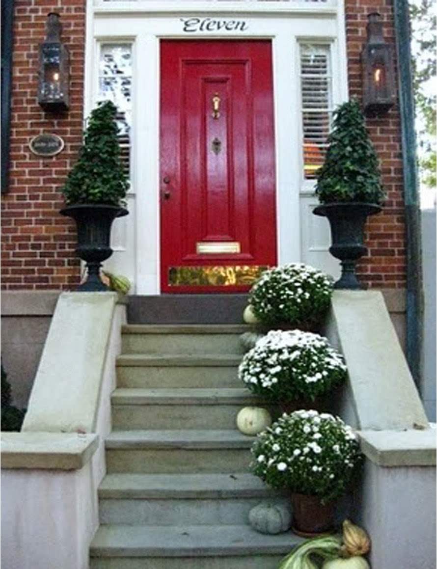 A touch of southern grace storybook red doors - Brick house front door ...