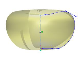 Revolucion del perfil de la calabaza en solidworks