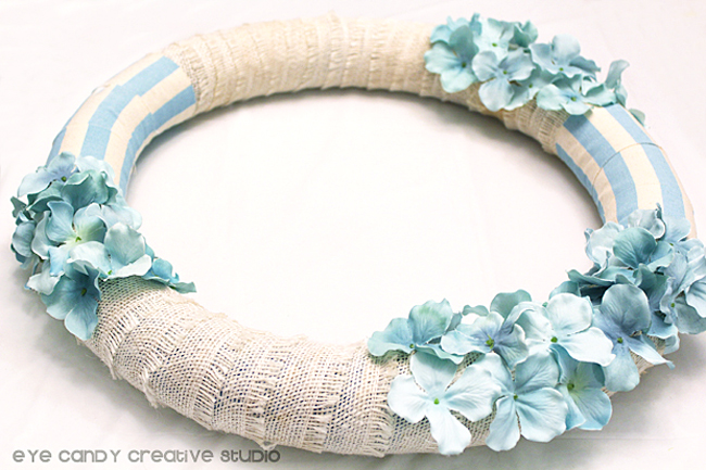 wreath with burlap ribbon & flowers, light blue stripe, spring wreath