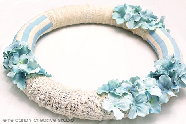 wreath with burlap ribbon & flowers, light blue stripe, spring wreath
