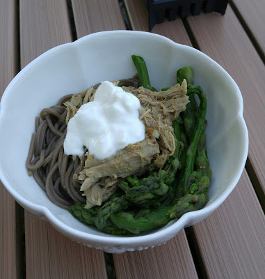 pulled pork with soba noodles, asparagus and a dollop of sour cream