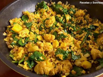 Arroz Integral Con Quinoa Pollo, Espinacas Y Manzana