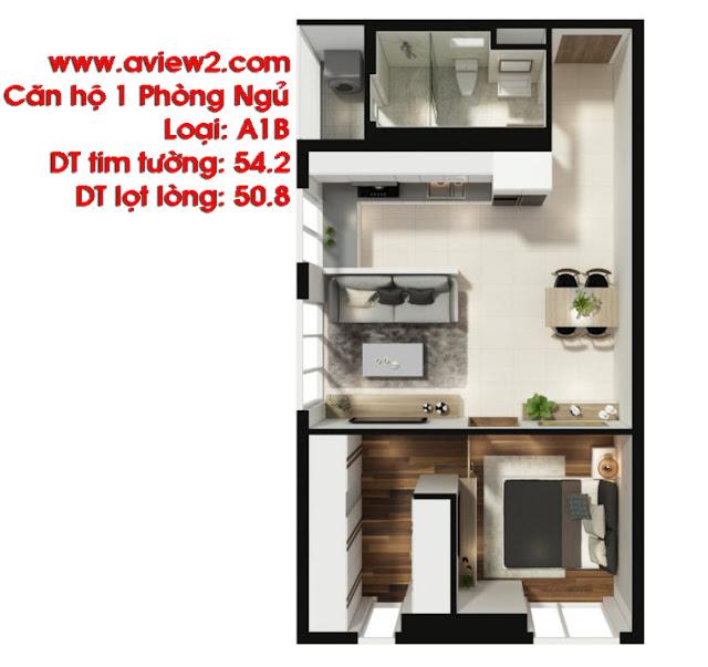 Căn hộ Aview 2 - Mẫu căn hộ 1 phòng ngủ