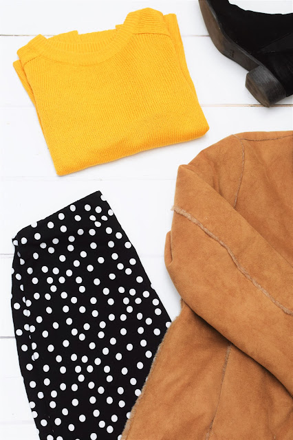 fashion, ootd, mustard, spots, boots, h&m, asos, the vestry, jacket, primark, winter fashion