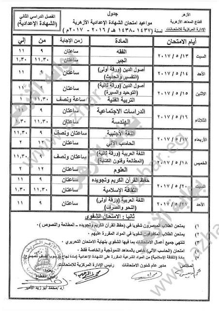 جدول إمتحانات الشهادة الاعداديه الازهريه 2017 الترم الثانى ، أخر العام