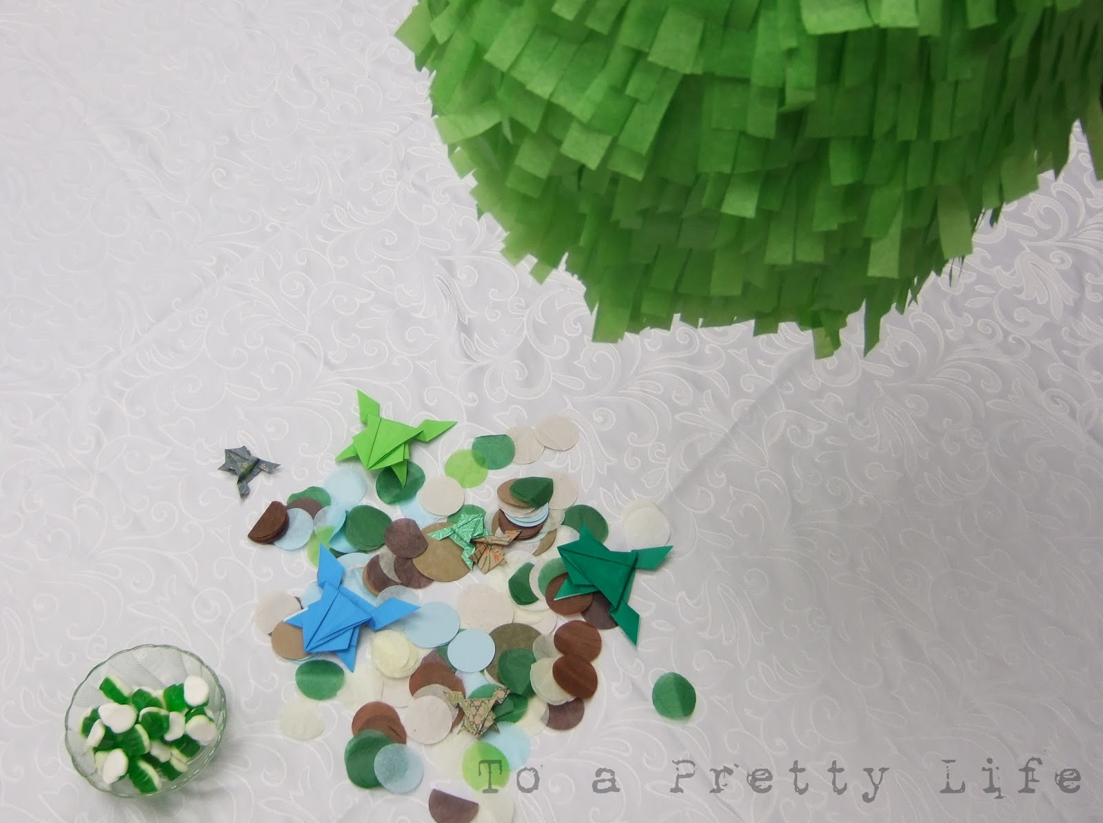 To A Pretty Life Olive Green And Baby Blue Frog Baby Shower