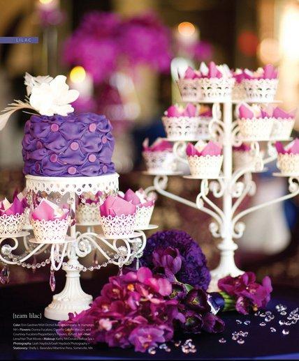 mariage violet desserte cupcake
